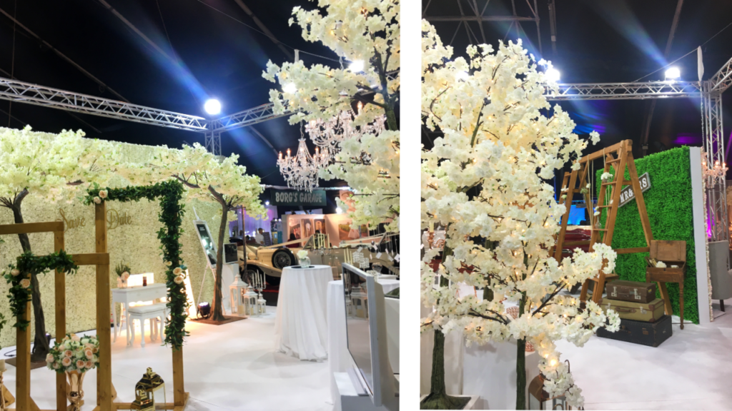 Details from the MFCC Malta Wedding Event; white flowers at wedding fair Malta.