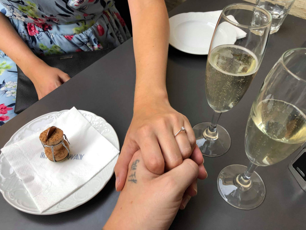 Engagement memory: holding hands and drinking champagne