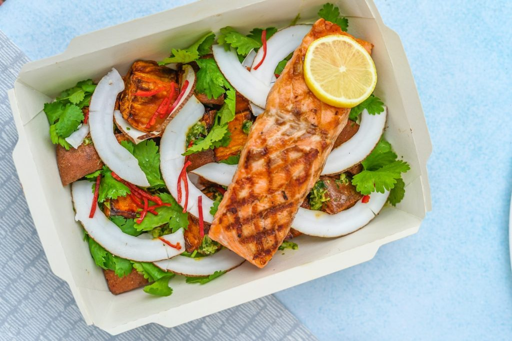 Salmon salad food delivery