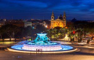 Triton Fountain at night
