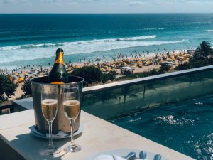 Champagne at a pool and beach club