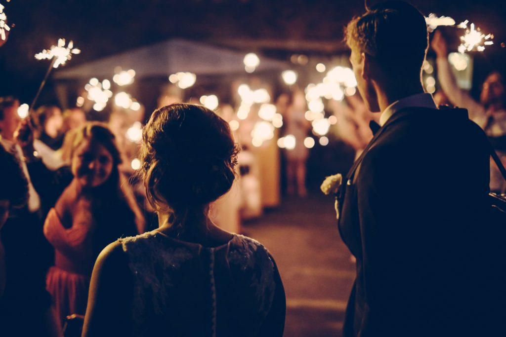 A couple at a destination wedding