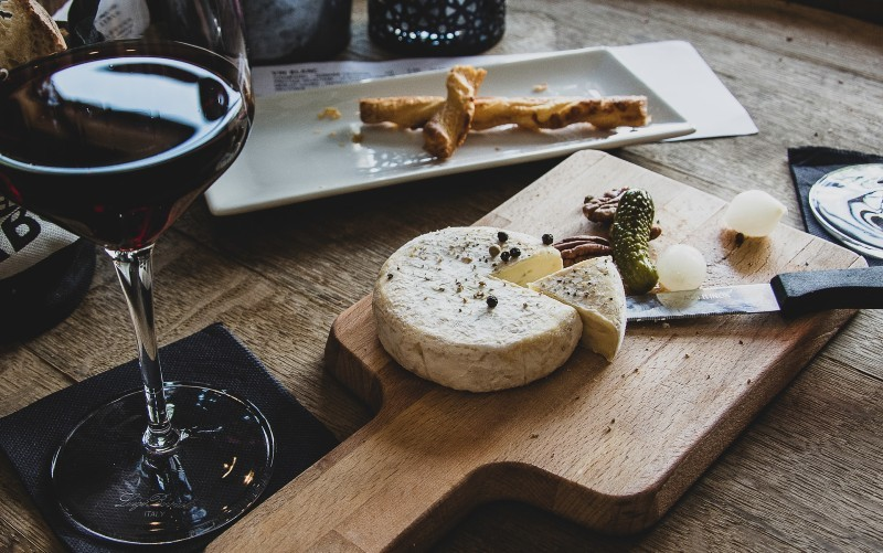 wine and cheese at a wine bar